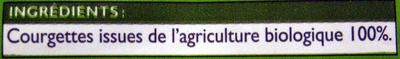 Courgettes en rondelles Bio - Ingrédients