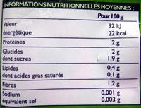 Courgettes en rondelles Bio - Informations nutritionnelles