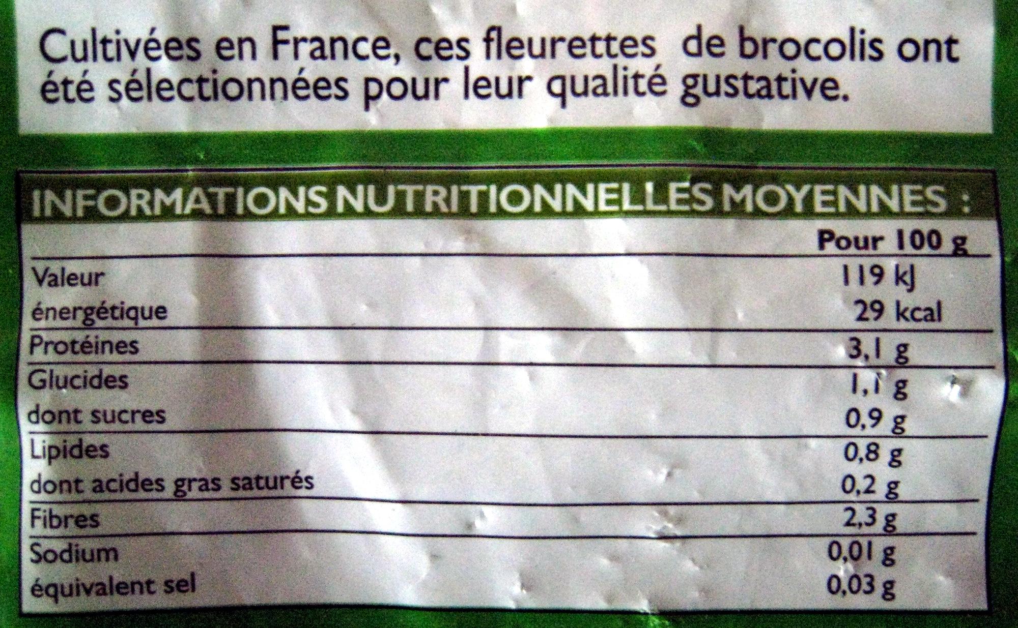 Fleurettes de brocolis Bio - Informations nutritionnelles - fr