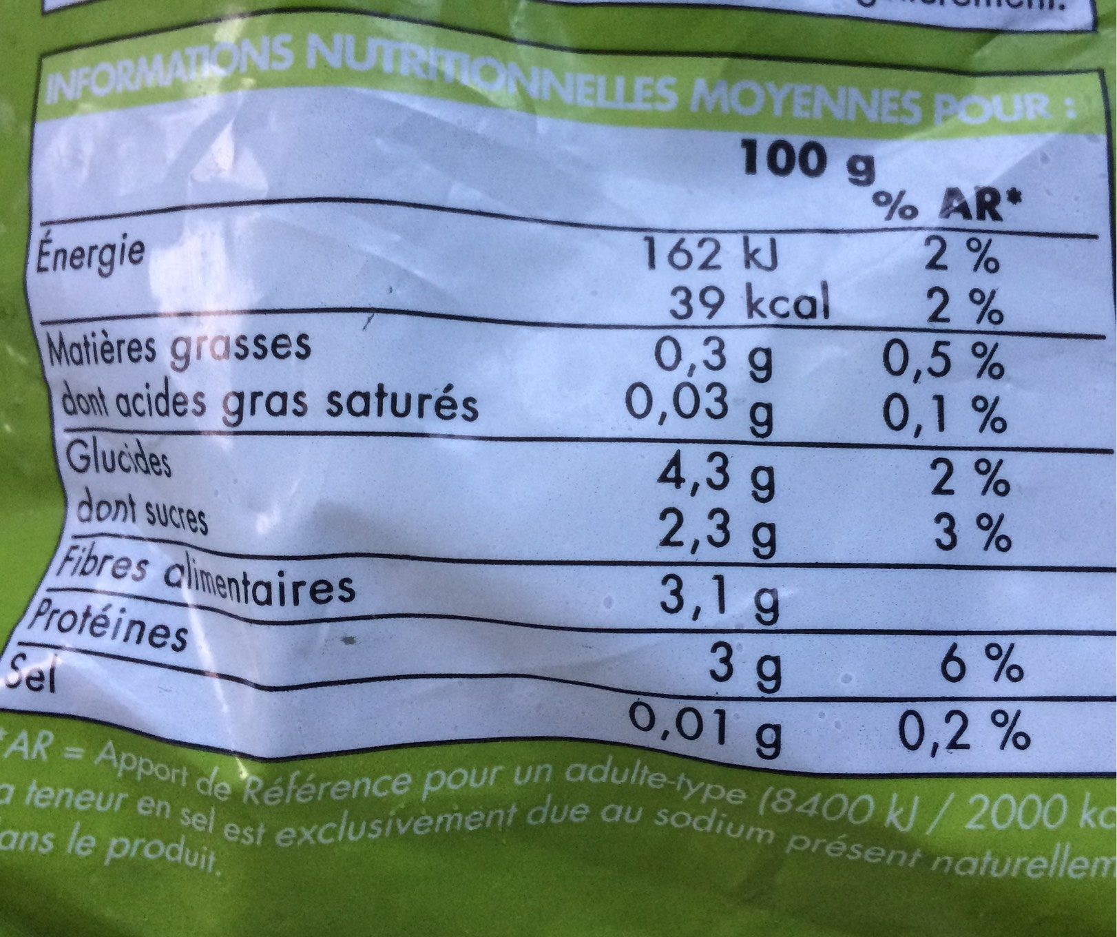 Pois gourmands - Nutrition facts - fr