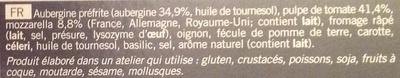 Gratin d'aubergines, Surgelé - Ingrédients