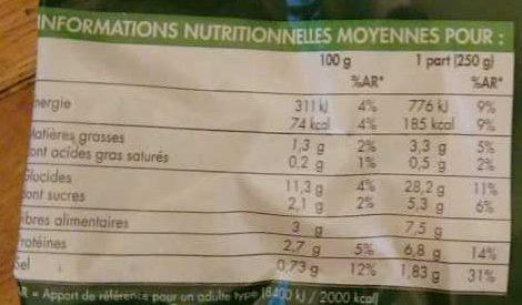 Mélange pour Potage Minestrone - Nutrition facts - fr