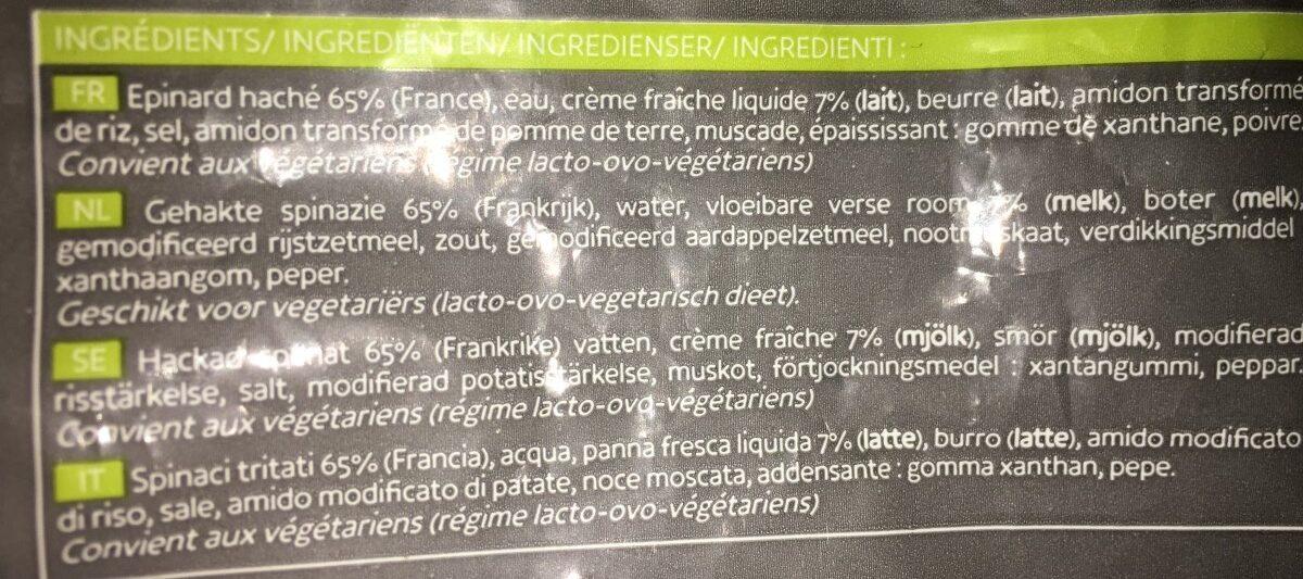 Epinards hachés à la crème - Ingredients - fr