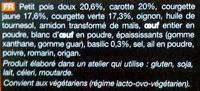 8 palets de légumes préfrits - surgelés Courgettes jaune et verte, petit pois doux carotte - Ingrediënten