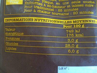 Pommes allumettes à four - Nutrition facts - fr