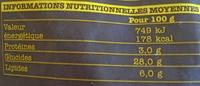 Pommes allumettes à four - Información nutricional