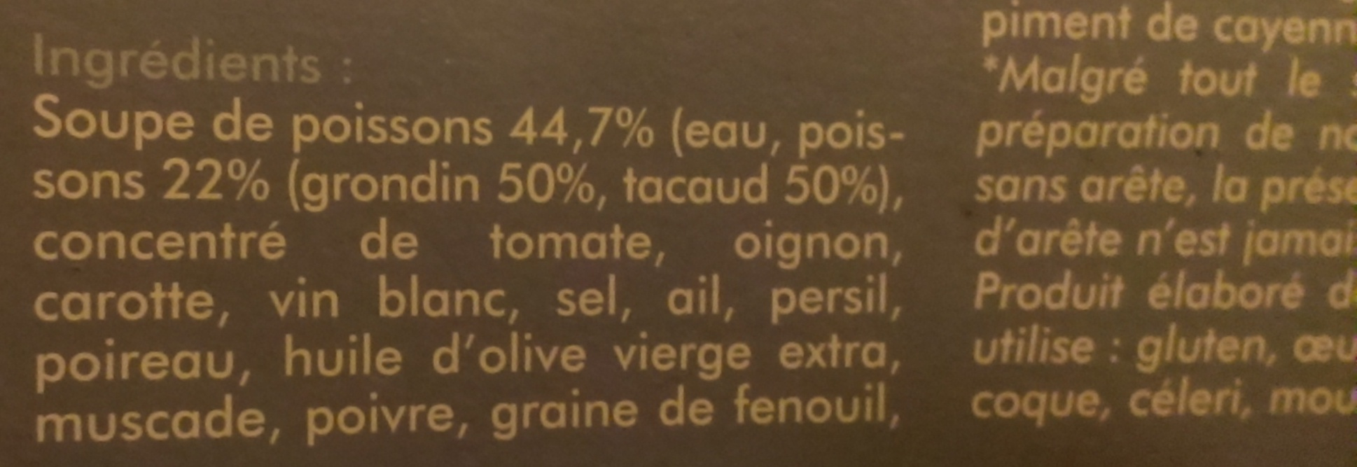 So Soupe bouillabaisse - Ingrédients