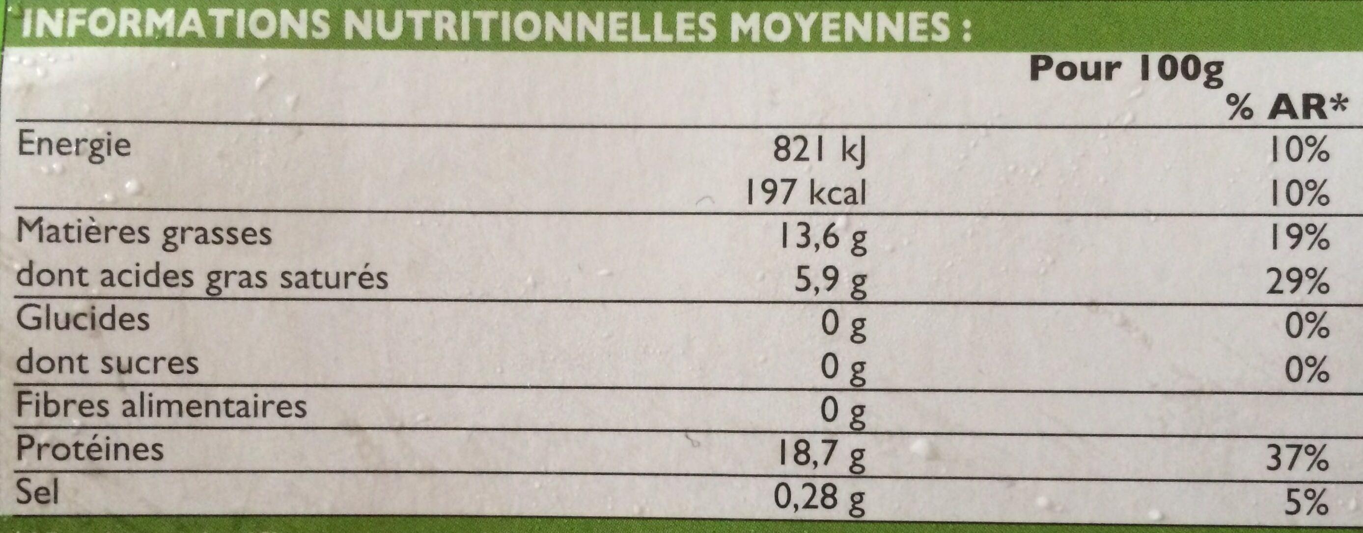 8 Biftecks hachés pur bœuf - Informations nutritionnelles