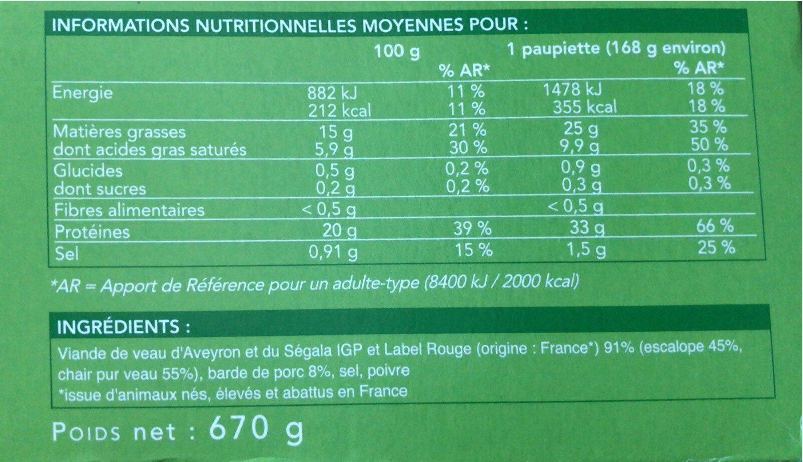 Label Rouge - 4 Paupiettes de veau - Valori nutrizionali - fr