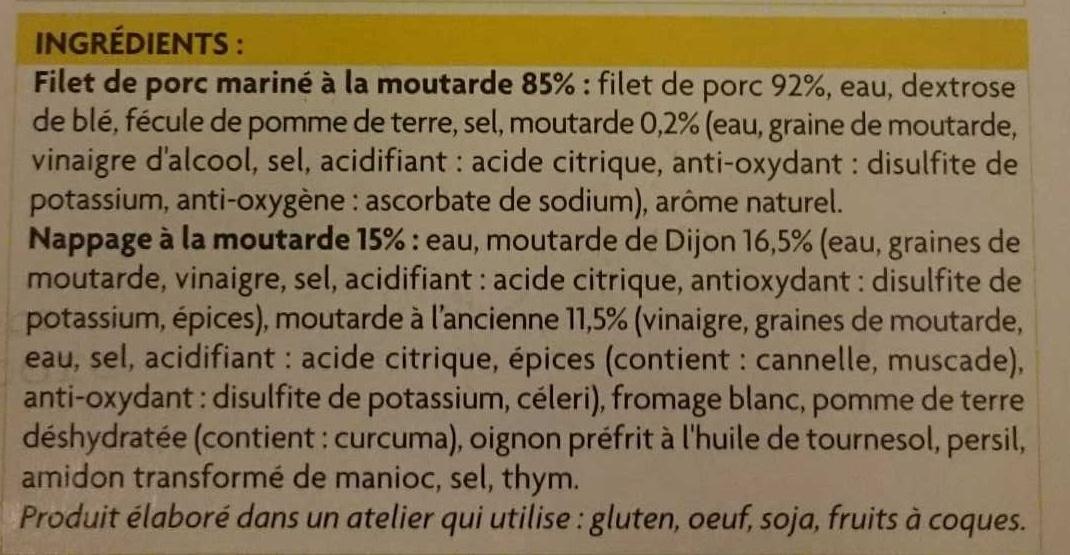 Filet mignon de porc à la moutarde - Ingrédients