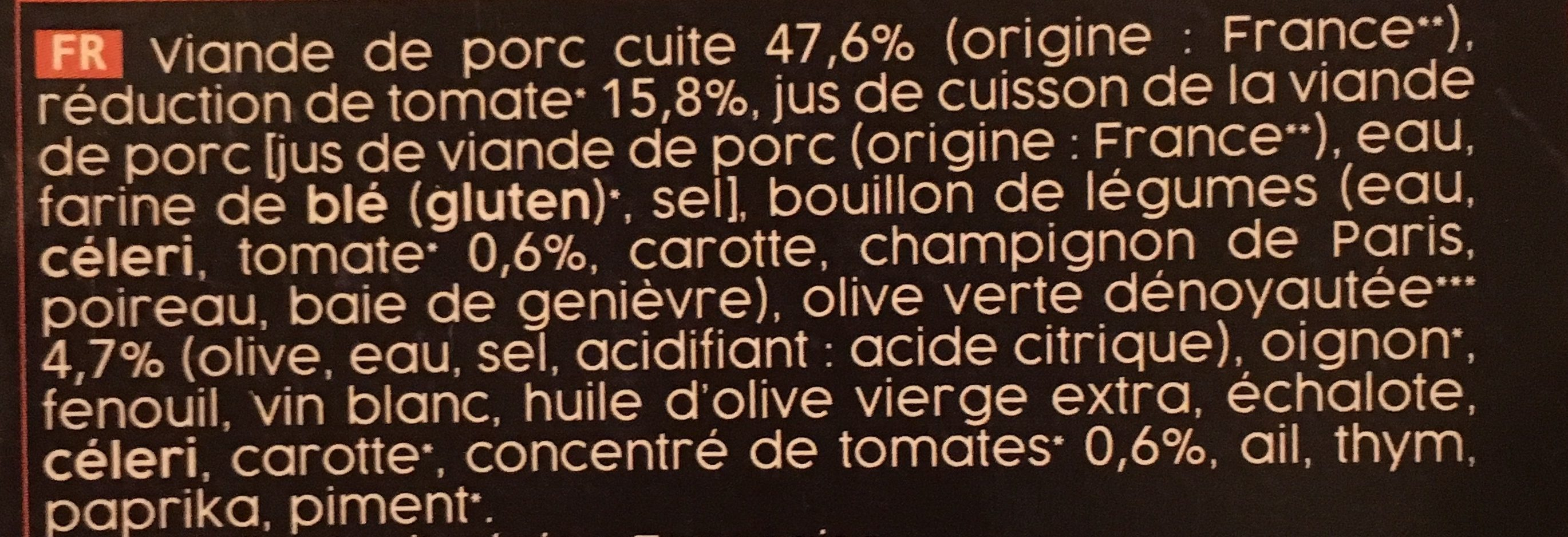 Sauté de Porc à la Tomate et aux Olives - Ingrédients - fr