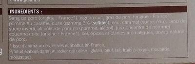 2 Boudins noirs aux pommes (cuits, congelés) - Ingrédients - fr