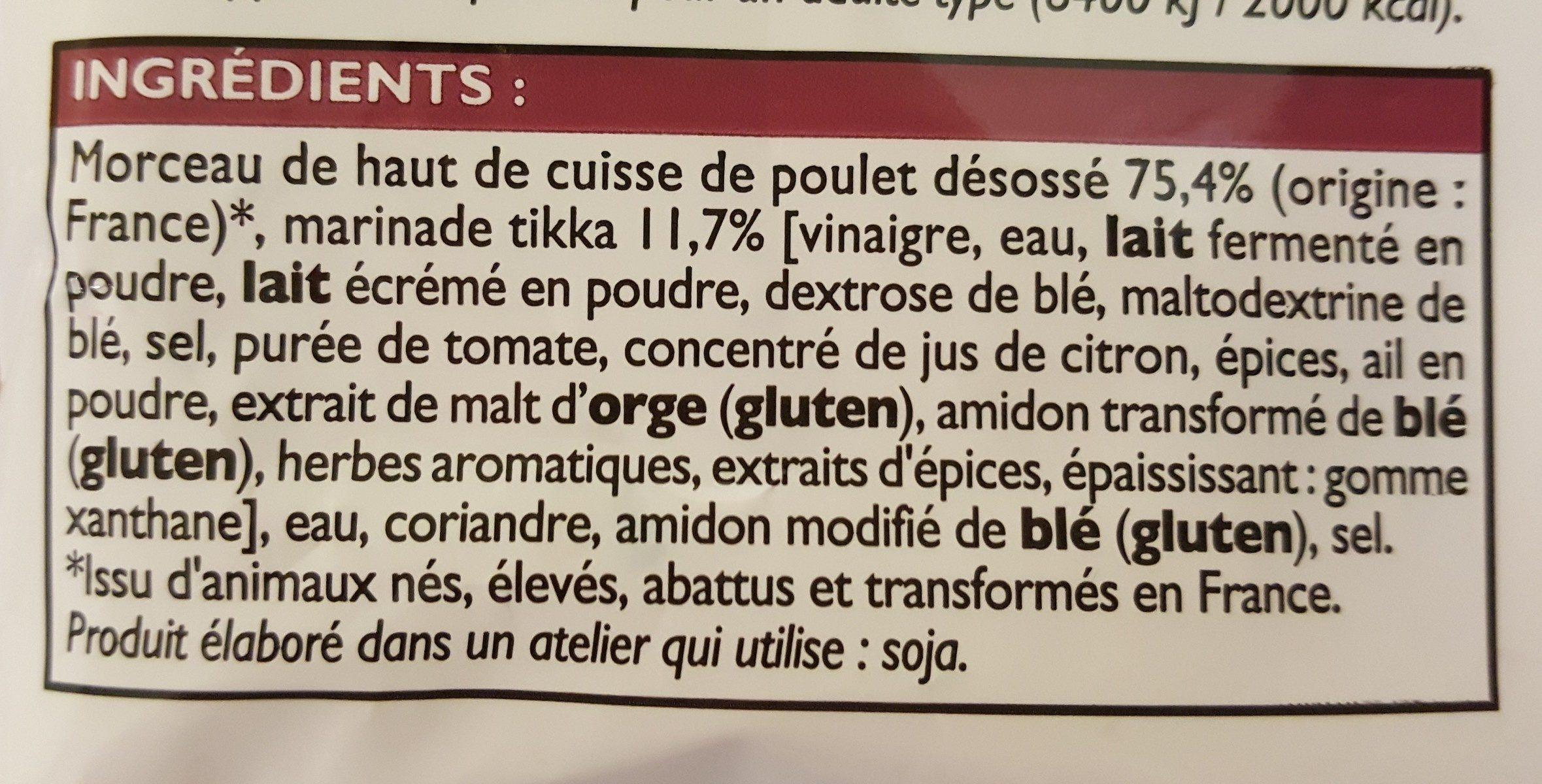 Bouchées de poulet tikka - Ingrédients - fr