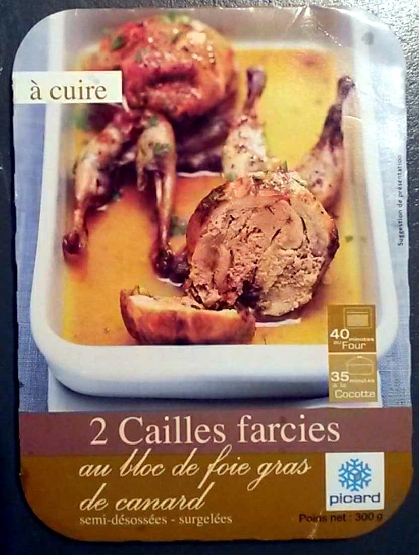 2 cailles farcies au bloc de foie gras de canard semi-désossées - surgelées - Produit - fr