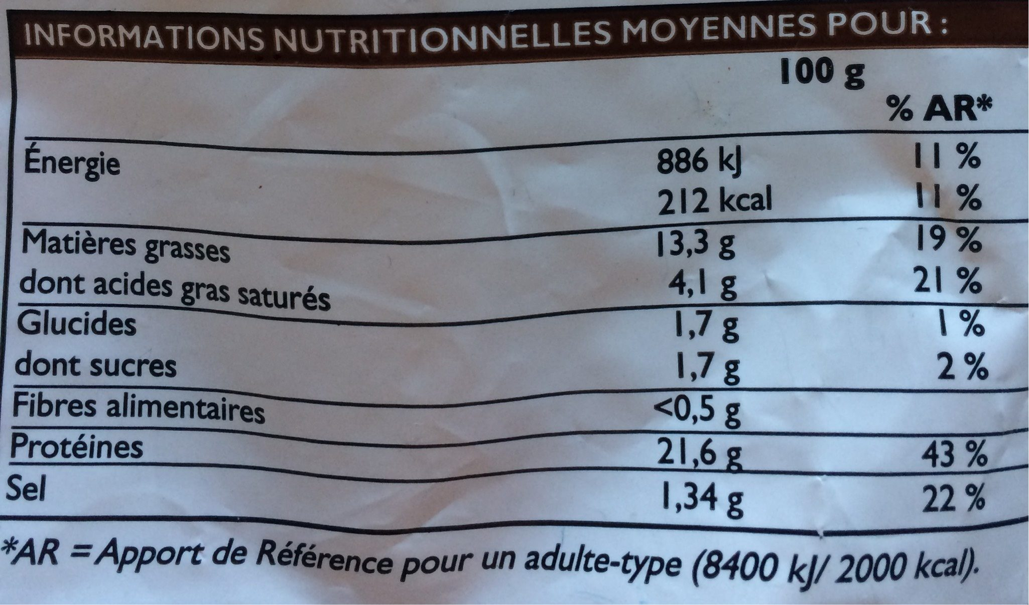 Manchons de poulets rôti surgelés - Informations nutritionnelles - fr