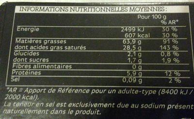 Foie Gras Cru de Canard Du Sud-Ouest - Informations nutritionnelles