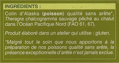 4 Tranches de filet de Colin d'Alaska Picard - Ingrédients - fr