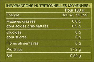 4 Tranches de filet de Colin d'Alaska Picard - Informations nutritionnelles - fr