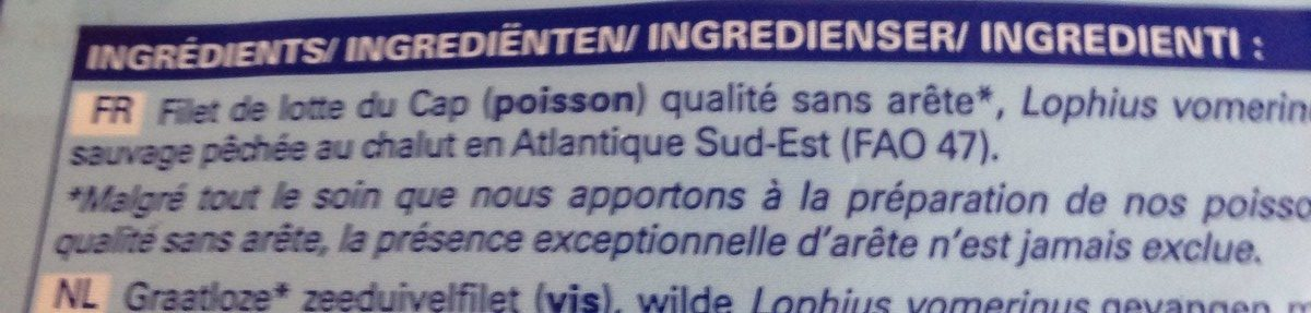 Filets de lotte du Cap - Ingredients
