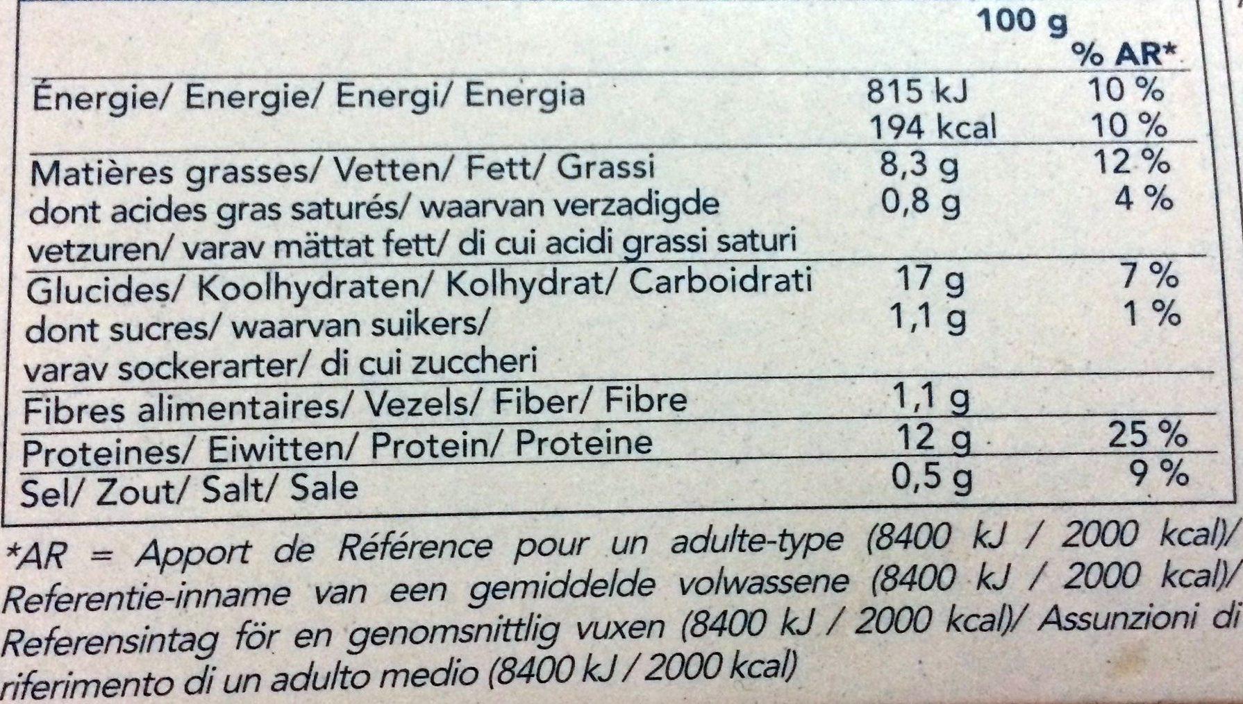 4 filets de cabillaud panure croustillante - Nutrition facts