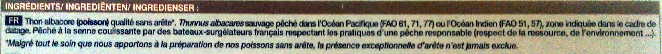 2 pavés de thon albacore - Ingredienti - fr