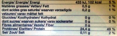 2 pavés de thon albacore - Valori nutrizionali - fr