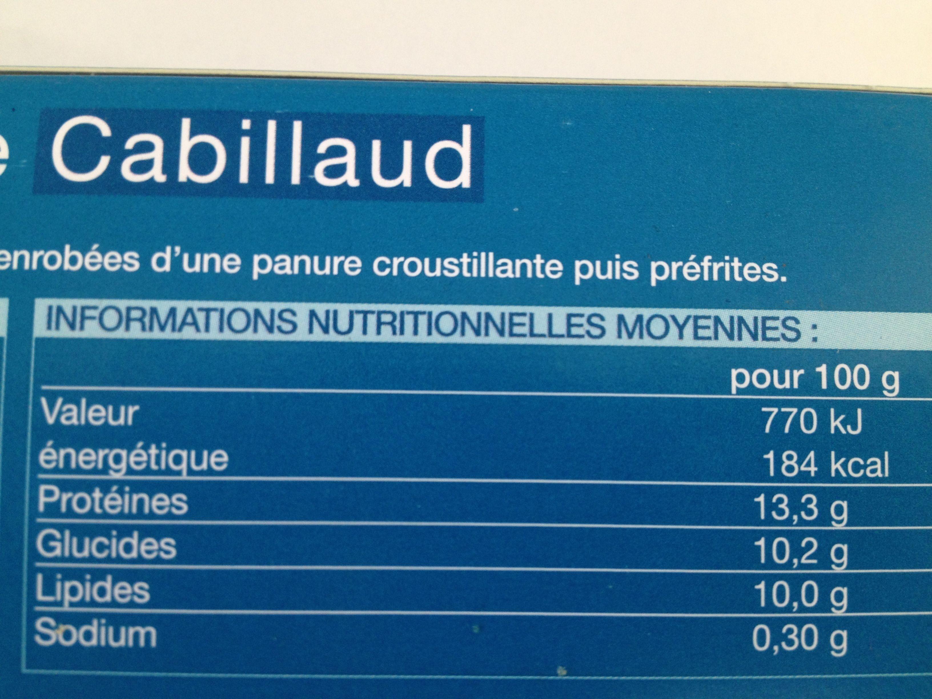 8 portions panées de cabillaud - Informations nutritionnelles