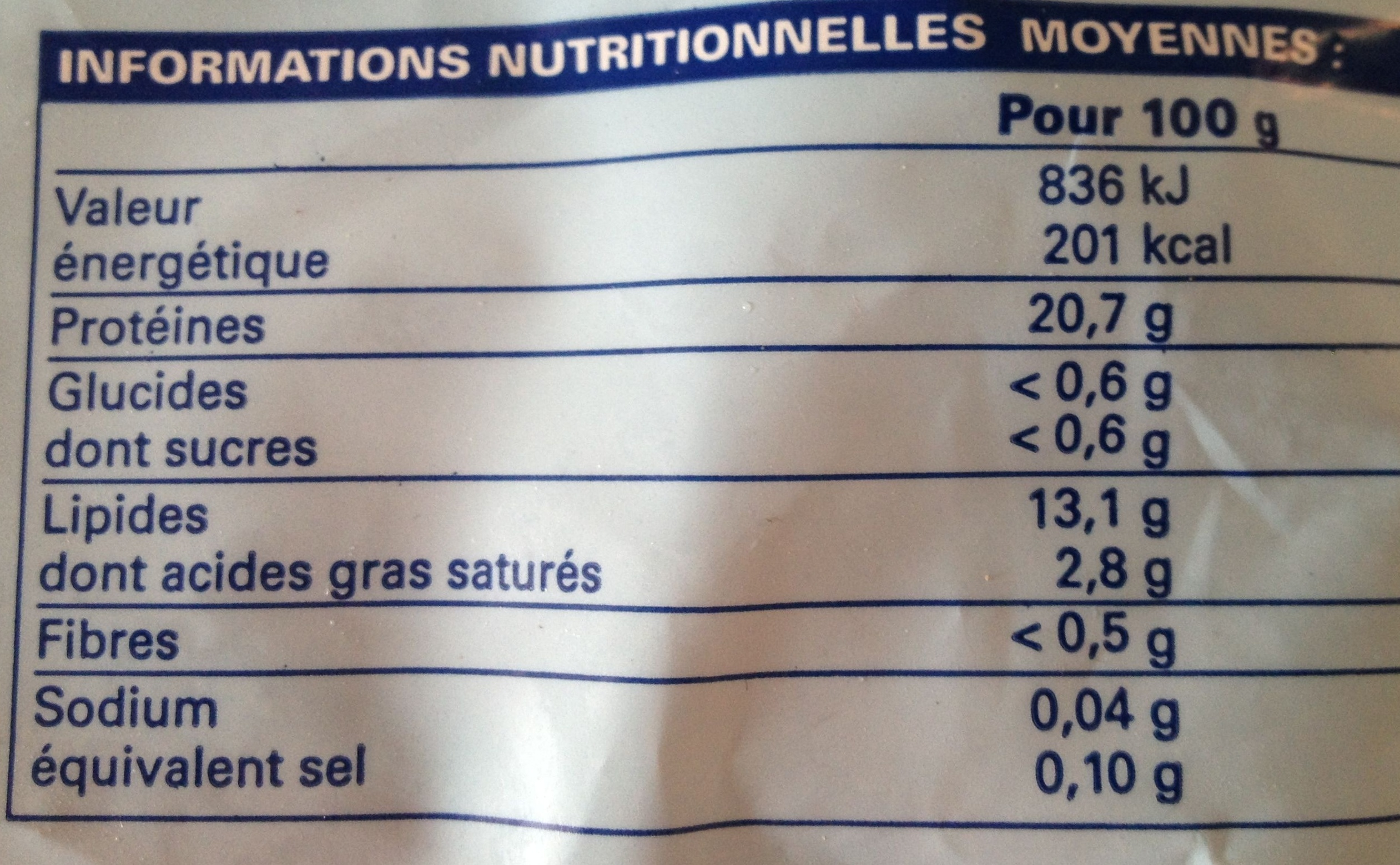 4 portions de filets de saumon atlantique surgelé - Informations nutritionnelles