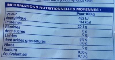 4 Pavés de Saumon Kéta du Pacifique, avec peau, congelés - Informations nutritionnelles