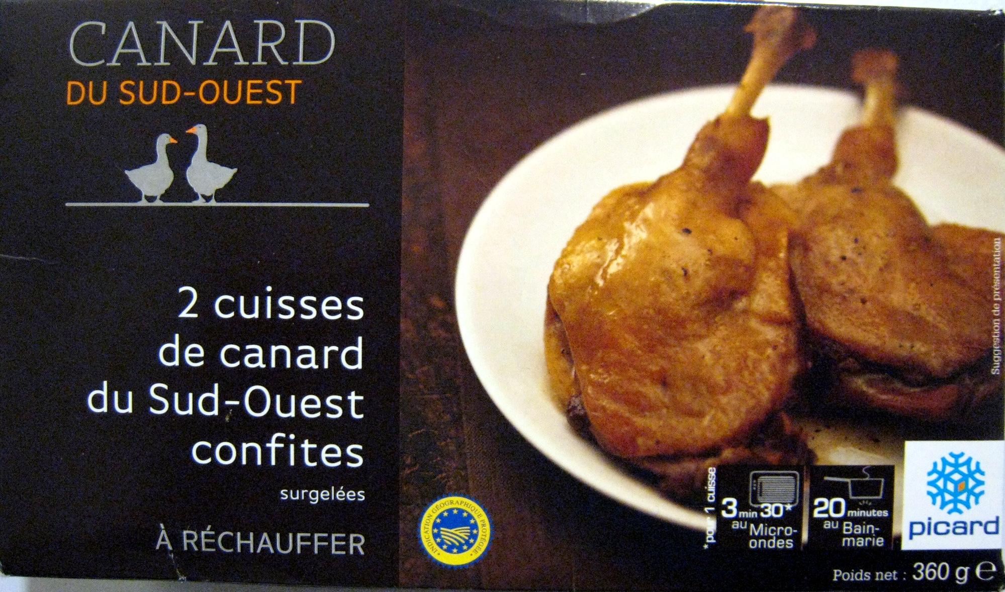 2 cuisses de canard du Sud-Ouest confites surgelées - Produit - fr