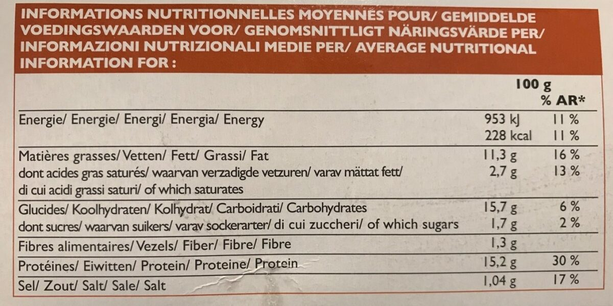 Cordons bleus de poulet picard - Nutrition facts