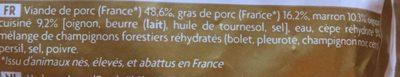 Farce marrons et cèpes - Ingrédients - fr