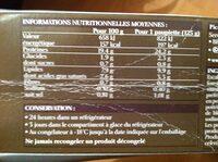 2 Paupiettes farcies à la Forestière - Informations nutritionnelles
