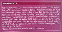Poulet Tikka et riz basmati - Ingrédients - fr
