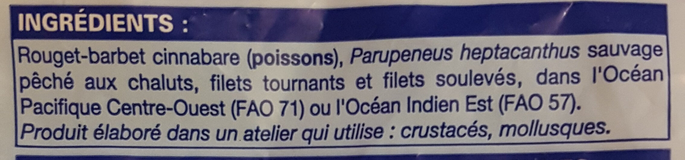 Filets de rouget-barbet Cinnabare - Ingrediënten - fr