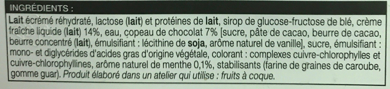 Crème Glacée Menthe avec Copeaux de Chocolat - Ingrédients