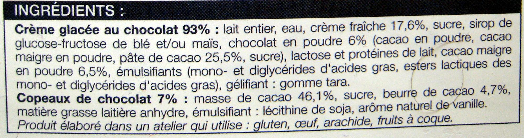 Crème glacée Chocolat avec copeaux de chocolat Picard - Ingrédients