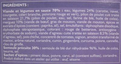 Couscous Royal au Poulet, Merguez et Agneau - Ingrédients