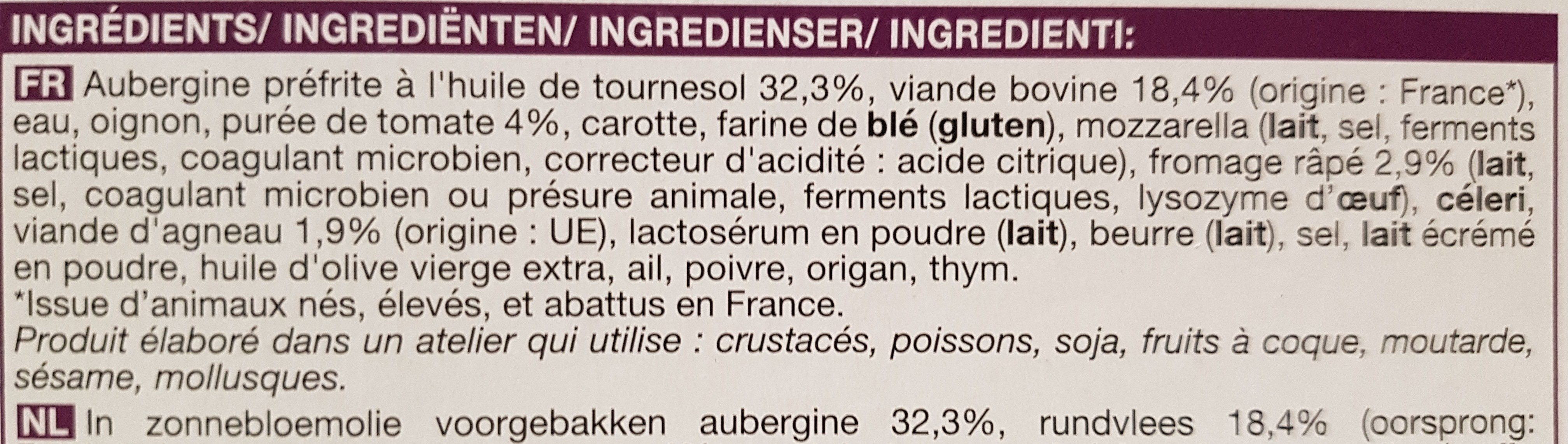 Moussaka - Ingredients - fr