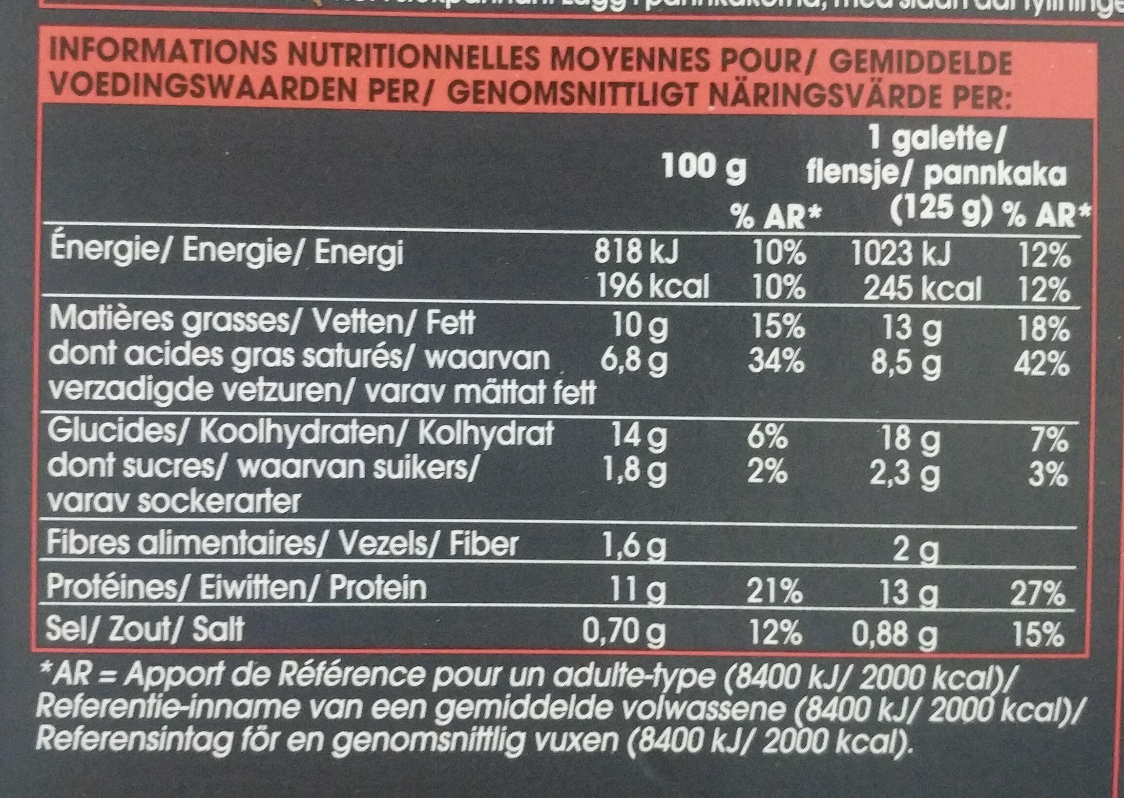 2 galettes jambon-emmental - Informations nutritionnelles - fr