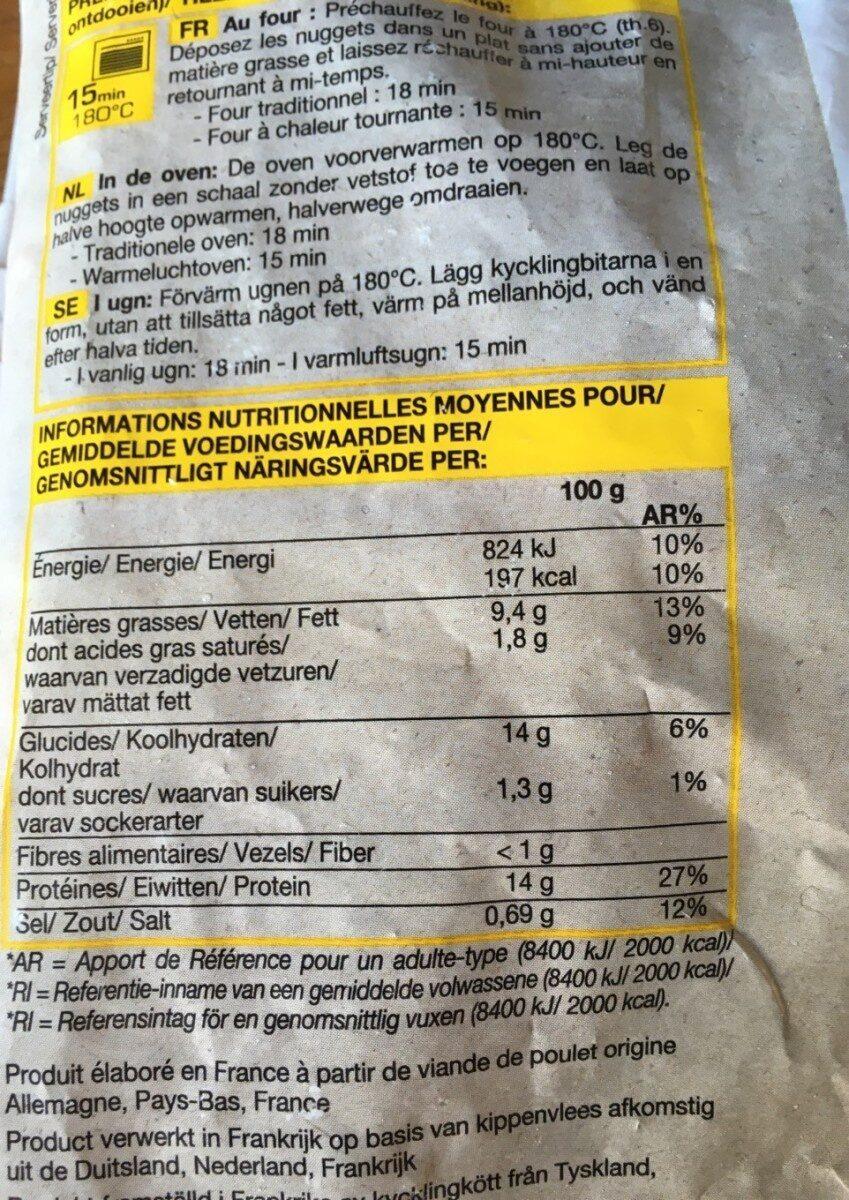 Nuggets de poulet panés - Nutrition facts - fr