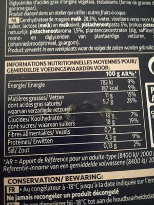 Glace Pistache - Nutrition facts