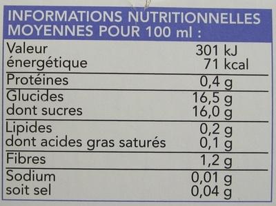 Sorbet mangue-passion - Informations nutritionnelles