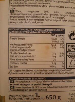 Sorbet Mangue - Nutrition facts - fr