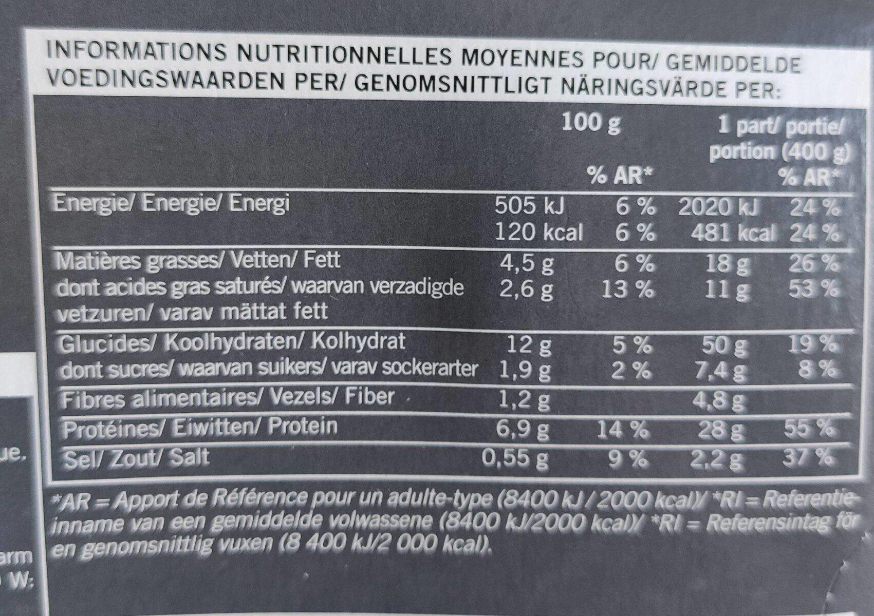 Hachis Parmentier, Boîte De 400 Grammes - Informations nutritionnelles - fr