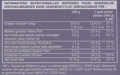 lasagnes à la bolognaise picard - Informations nutritionnelles - fr