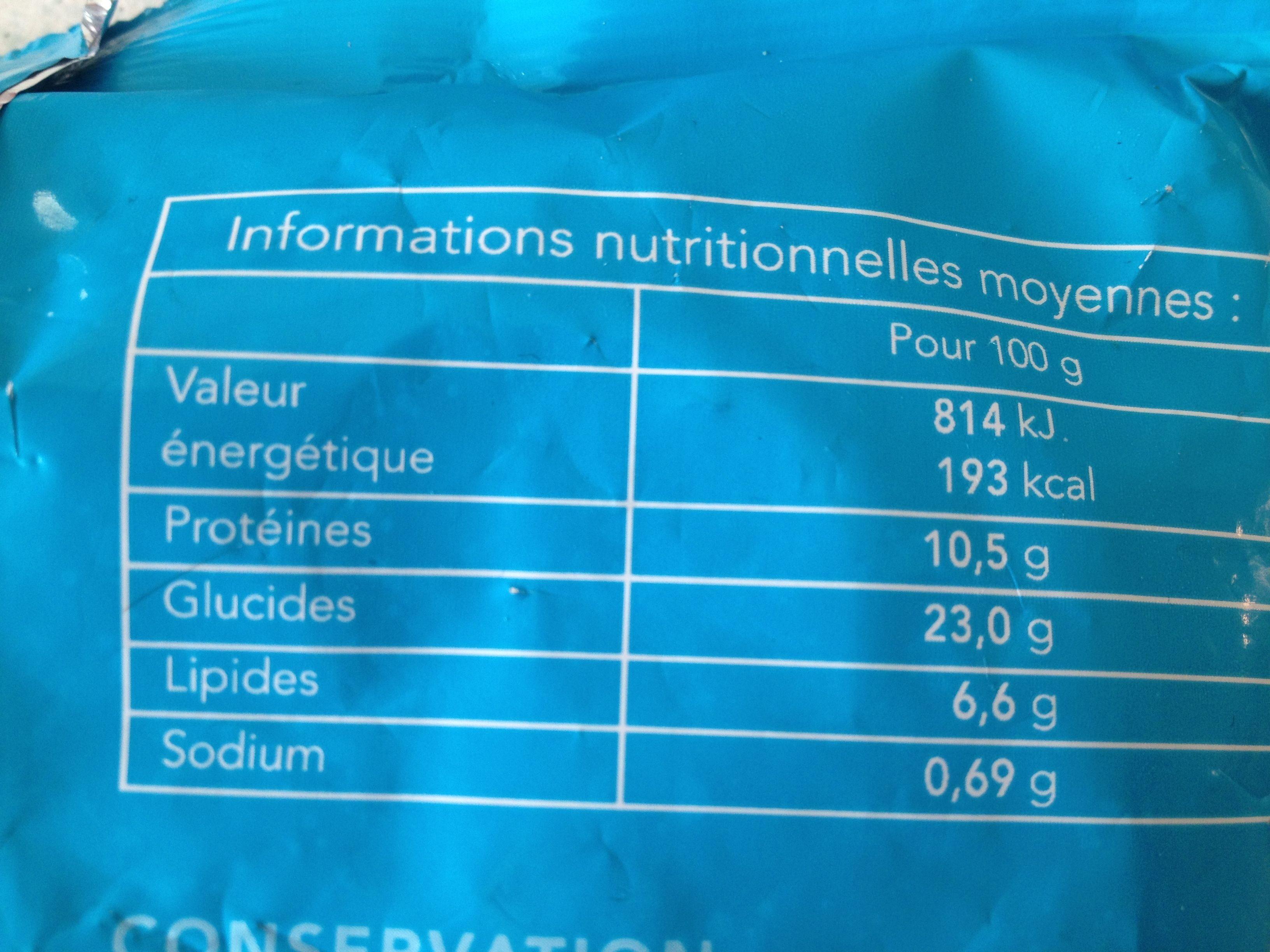 Mini-acras de morue, Préfrits surgelés - Informations nutritionnelles