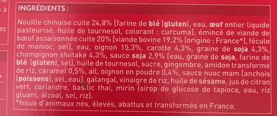 Bœuf aux oignons et nouilles chinoises aux légumes - Inhaltsstoffe - fr