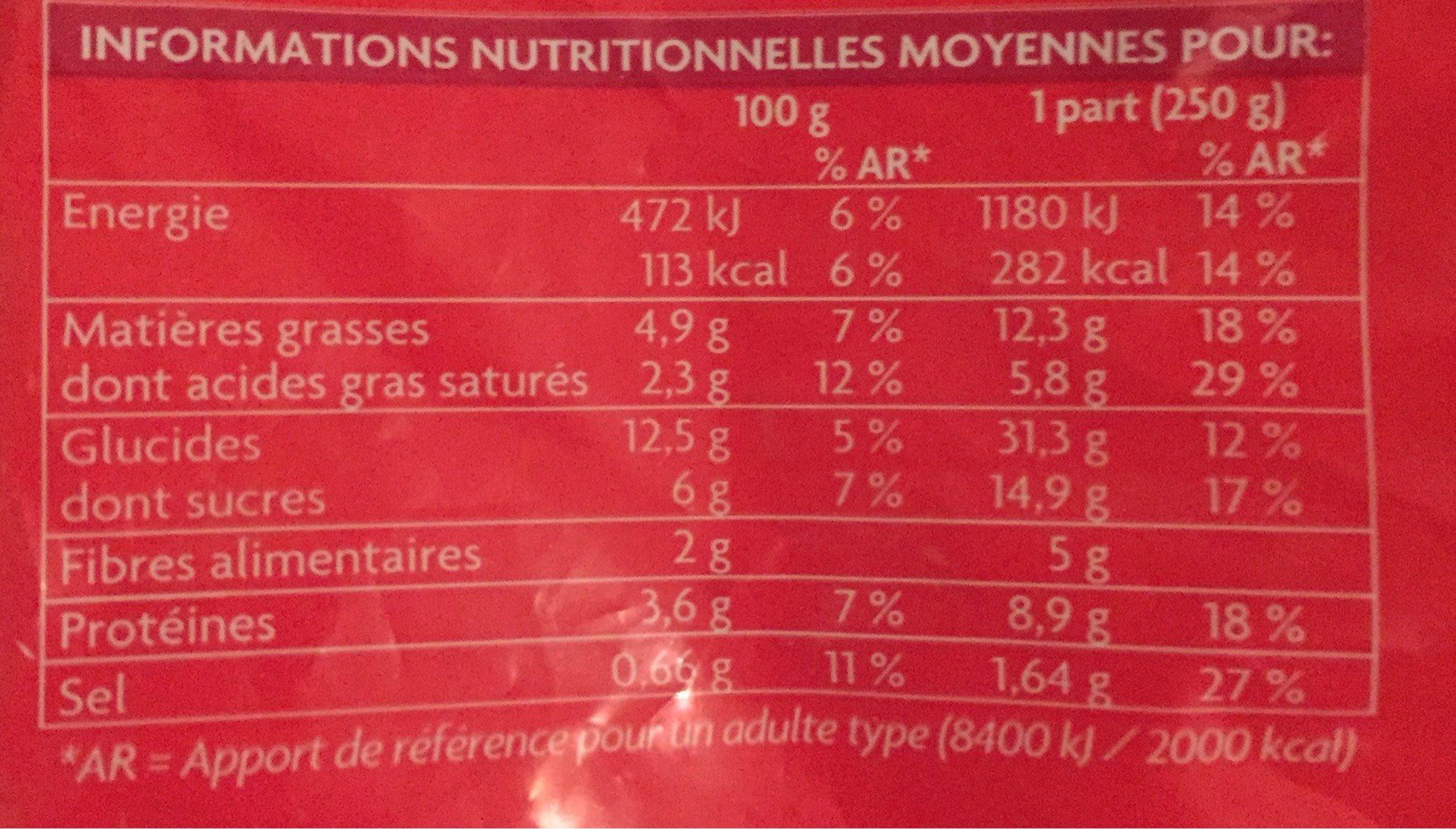 Nouilles sautées à la chinoise, portionnable - Nutrition facts - fr