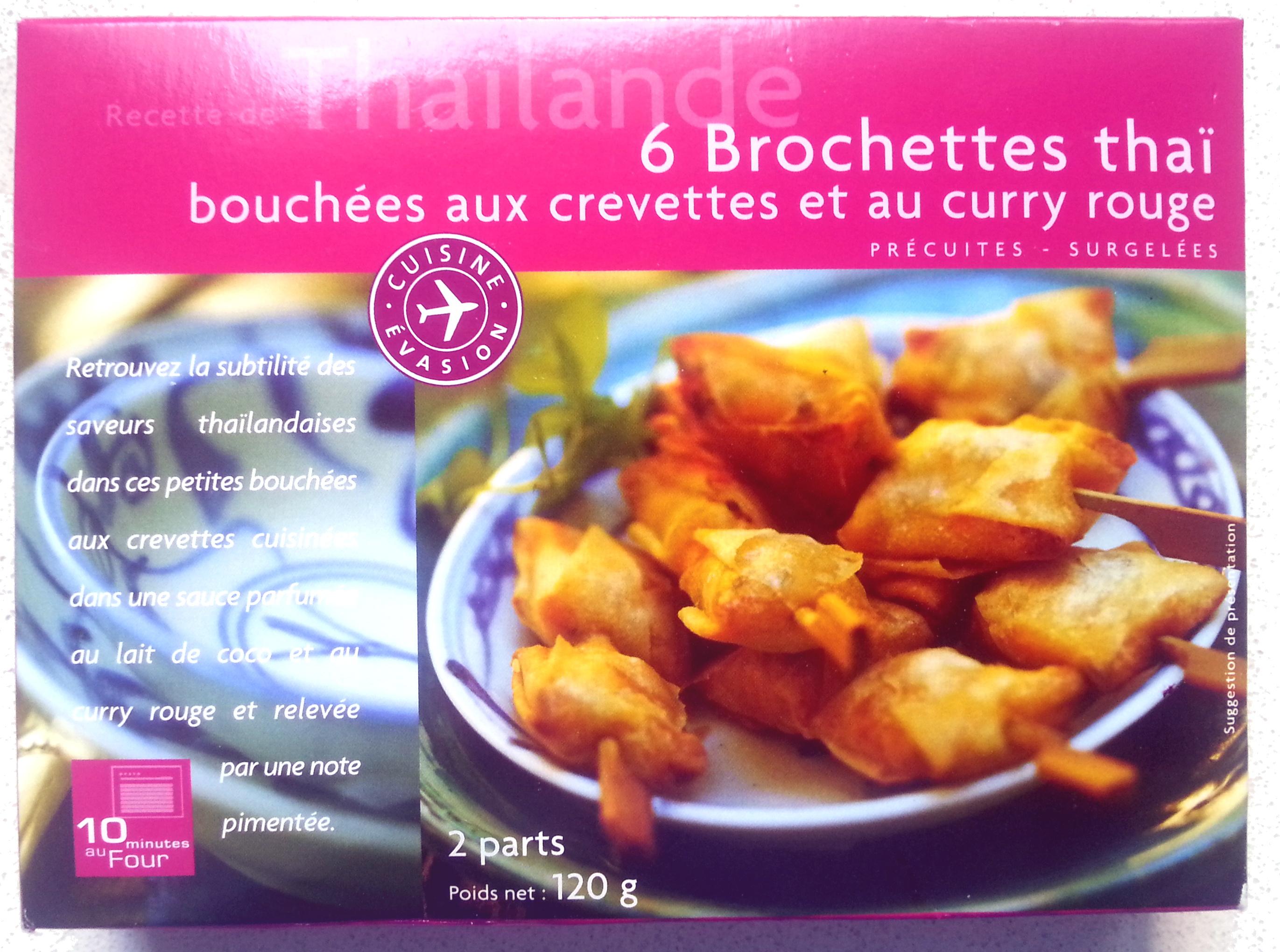 6 brochettes thaï bouchées aux crevettes et curry rouge - Product